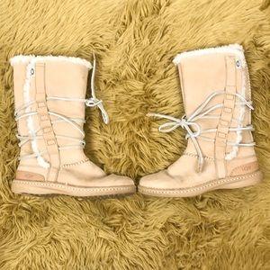 UGG tall sheep skin tie boots sz 8